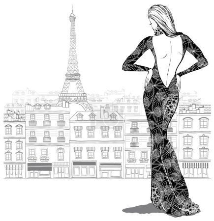 Illustration pour Mannequin femme dans une belle robe sur fond de ville parisienne, illustration vectorielle - image libre de droit