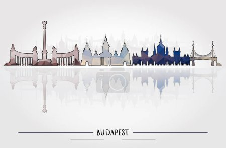 Illustration for Business Travel and Tourism Concept with Historic Budapest Architecture, vector illustration - Royalty Free Image
