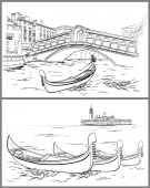 Hand drawn Rialto Bridge and Lido island Venice