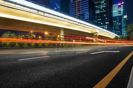 Photo for Urban traffic road with cityscape at night in modern city of China. - Royalty Free Image