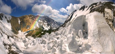 Avalanche in the Carpathian mountains