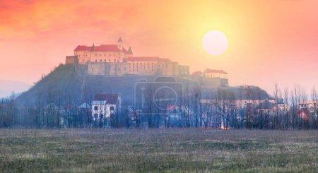 Dawn over the castle Palanok