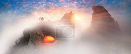Cool MTB racer at sunrise in Crimea