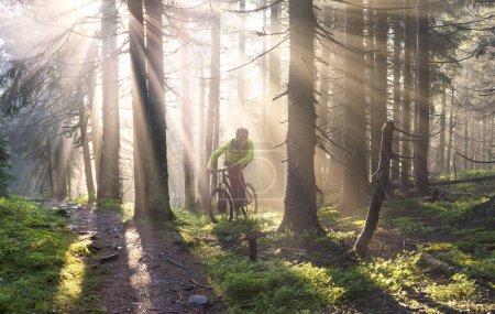 Fog rider on a mountain bike