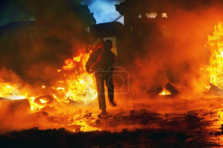 Fire fighting on the street Grushevskogo