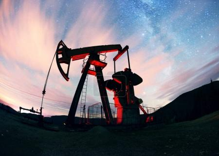 Oil pump on a mountain in the Carpathians