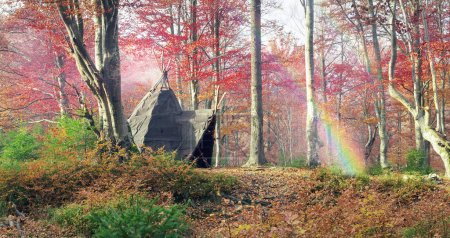 Wigwam in the autumn forest