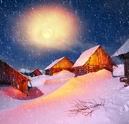 Houses of shepherds at night