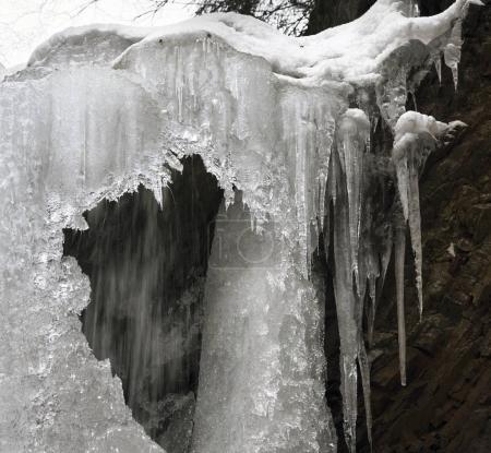 famous waterfall Guk in winter