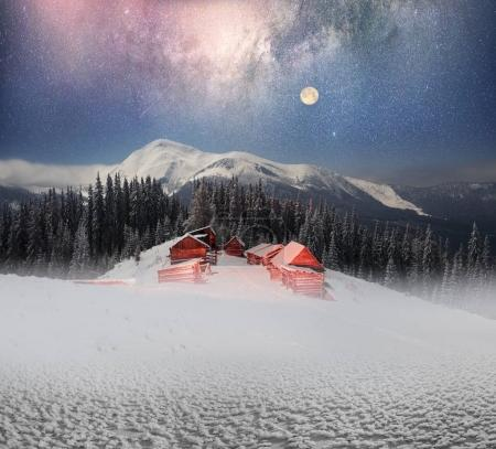 Huts on the background of Chernogora