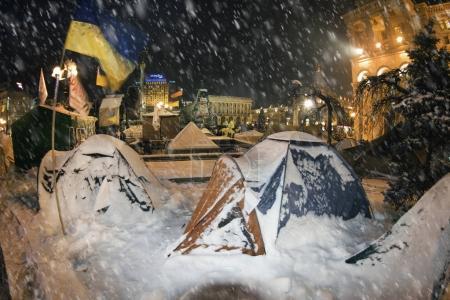 Snow tents in Kiev on Euromaidan