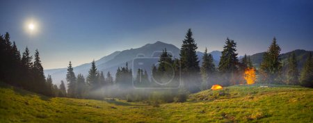 Tent in the Carpathian Mountains