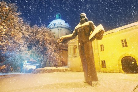 Fedorov Monument in Lviv at Winter