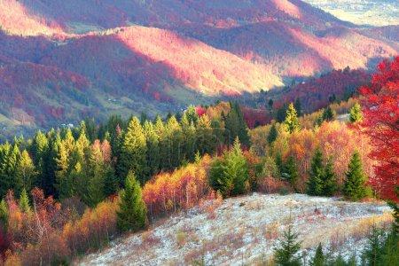 Carpathian mountains in cold autumn