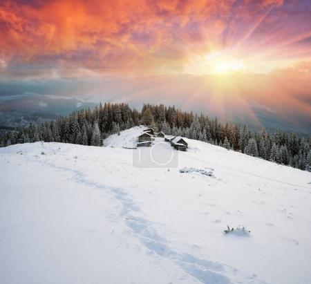 Houses of shepherds on the mountain Kukul