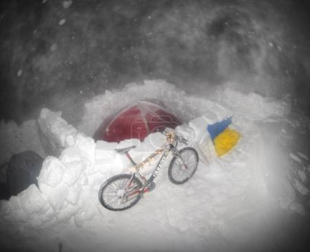 Mountaineers and a bicycle for the New Year on Goverla