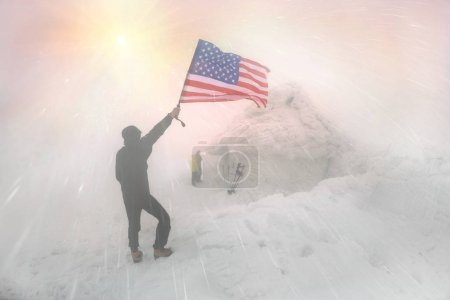 Stars and Stripes of the USA in a Storm