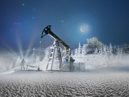 Oil production in the winter on Mount Synechka