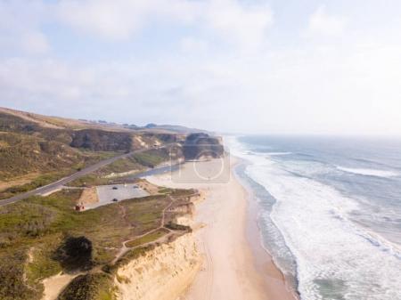 Aerial view on the Californian Pacific ocean cliffs