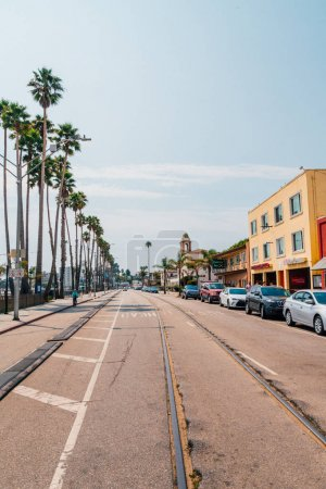 Street of the small Santa Cruz town with small restaurants and street shops. California, USA. August 30, 2017.