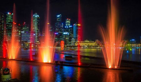 May 30, 2017. Singapore. Amazing fountains night laser show in Singapore by the Marina Bay Sands luxury hotel.