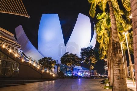 May 20, 2017. Singapore. Beautiful night view at the ArtScience Museum in Singapore.