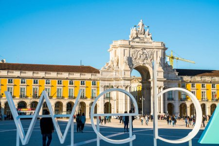 LISBON, PORTUGAL - NOVEMBER 08, 2017: A sign for Europe's biggest tech conference, the Web Summit, at Commerce Square