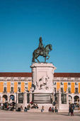LISBON, PORTUGAL  September 25, 2017: The Rua Augusta Arch is a marble triumphal historical monument and main attraction on Commerce Square (Praca do Comercio) in Lisbon, Portugal