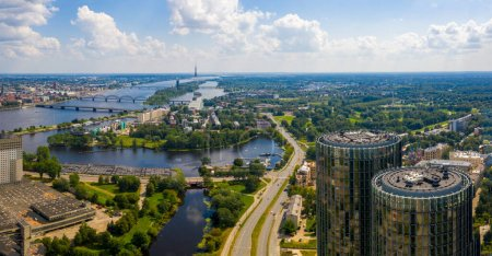 Riga, Latvia, JULY 30, 2019. Beautiful aerial view on the Z-Towers in the center of Riga, Latvia. Beautiful summer view with old town and river Daugava on the background.