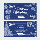 Happy New Year card with xmas tree snowflakes and handwritten lettering Season sale banner template