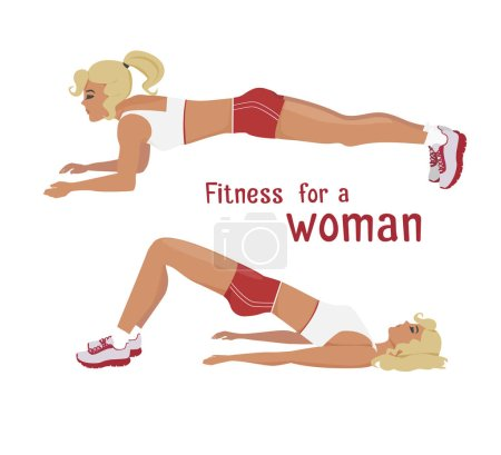 Vector girl makes plank exercises, woman work out abdominal muscles