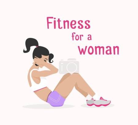 Vector girl does abdominal crunches, woman works out