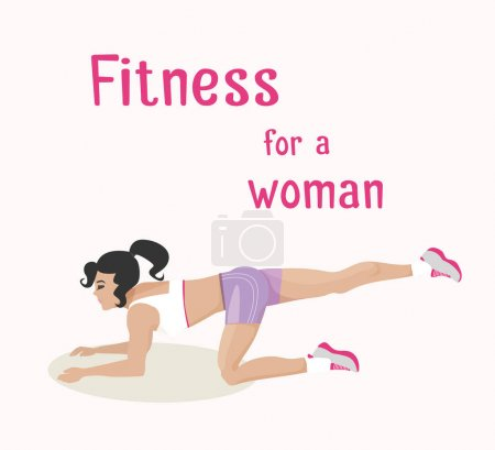 Vector girl does buttocks exercises, woman works out