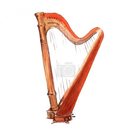 Harp. Musical instruments. Isolated on white background.