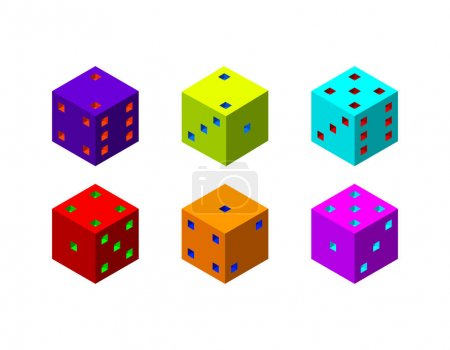 Dice set. 3d Vector colorful illustration.3d isometric style.