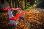 Budapest, Hungary - Red bench, autumn leaves and rising sun falls on the railroad track leading through the autumn forest with train at background at Huvosvolgy