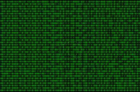 Image of a blurry binary code composed of a set of green numbers on a black background