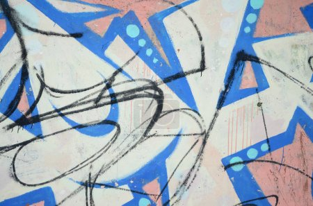 Photo for The old wall, painted in color graffiti drawing blue aerosol paints. Background image on the theme of drawing graffiti and street art - Royalty Free Image