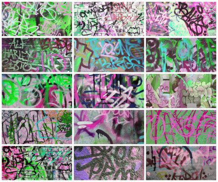 A set of many small fragments of tagged walls. Graffiti vandalism abstract background collage