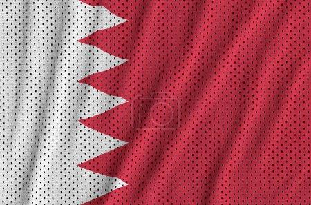 Bahrain flag printed on a polyester nylon sportswear mesh fabric