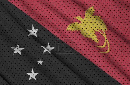Papua New Guinea flag printed on a polyester nylon sportswear mesh fabric with some folds