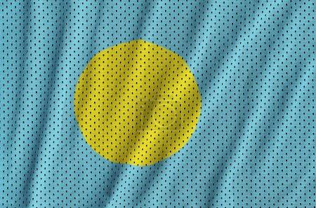 Palau flag printed on a polyester nylon sportswear mesh fabric w