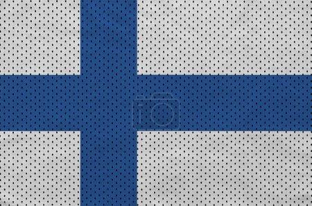 Finland flag printed on a polyester nylon sportswear mesh fabric