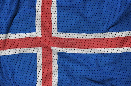 Iceland flag printed on a polyester nylon sportswear mesh fabric