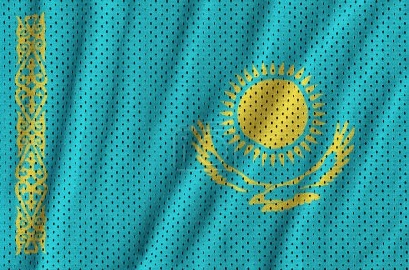 Kazakhstan flag printed on a polyester nylon sportswear mesh fabric with some folds