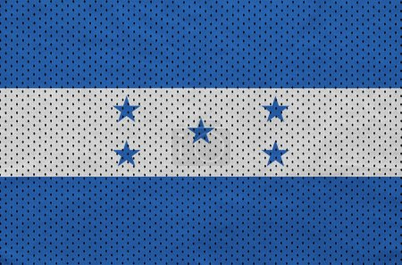 Honduras flag printed on a polyester nylon sportswear mesh fabric with some folds