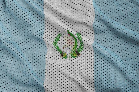 Guatemala flag printed on a polyester nylon sportswear mesh fabric with some folds
