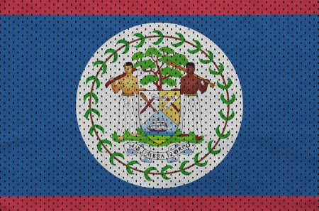 Belize flag printed on a polyester nylon sportswear mesh fabric