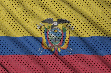 Ecuador flag printed on a polyester nylon sportswear mesh fabric