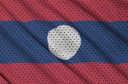 Laos flag printed on a polyester nylon sportswear mesh fabric wi